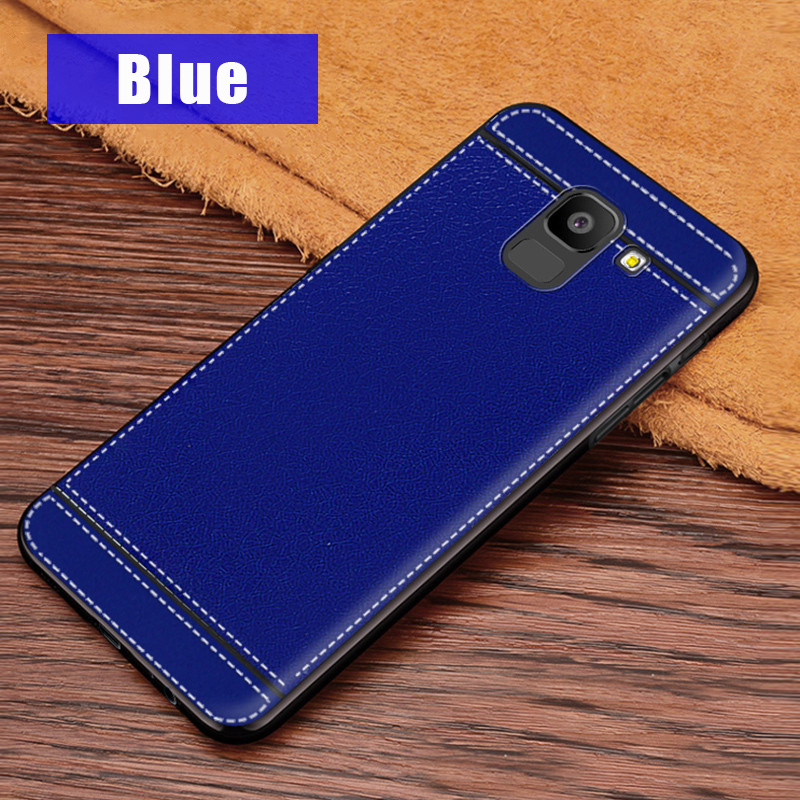 KSAM1105L_1_JONSONW Phone Case For Samsung A7 2018 A6 A8 Plus Leather Skin Soft TPU Silicone Case For J4 J6+ J8 2018 Premium Leather Back Cover Case