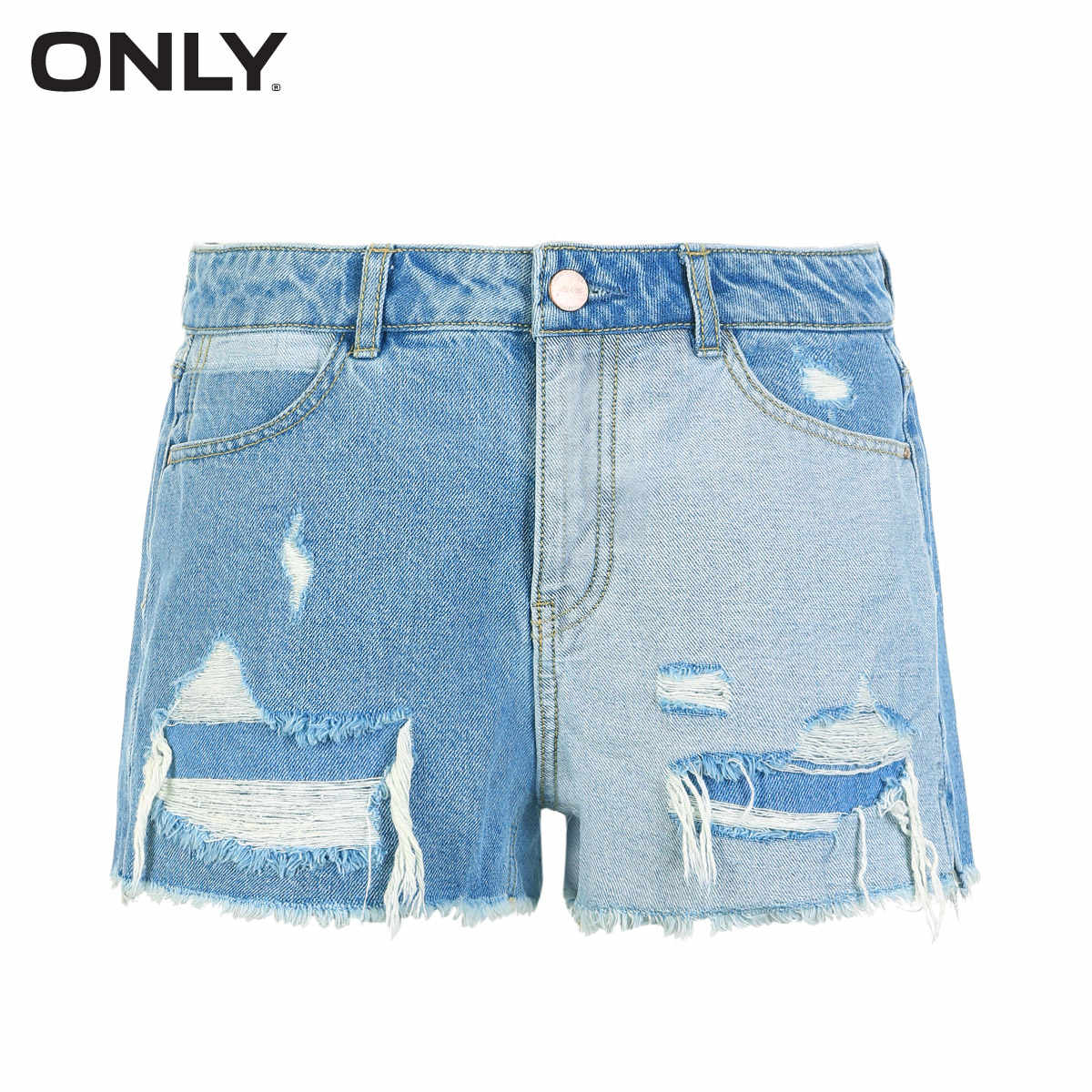 ONLY Summer Women's Worn Raw-edge Denim Shorts |118243547