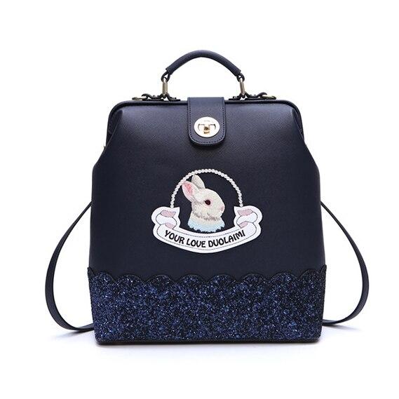 DuoLaiMi 2017 جديد متعددة الوظائف الأزياء حقيبة كتف جلدية pu التطريز أرنب على ظهره الماس Crossbody الحقائب المدرسية-في حقائب الظهر من حقائب وأمتعة على  مجموعة 1