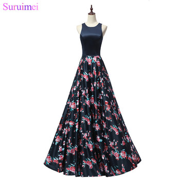 9 Style Navy Blue Evening Dresses with Floral Print Zippered Floor Length Long Evening Gown