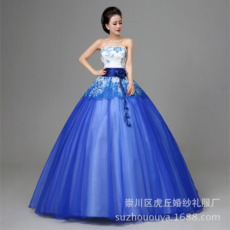 Sweet 15 Girls Cheap Gown with Crystal Beading Lace up Blue Organza Ball Gown Quinceanera Dresses 2019 Ruffles