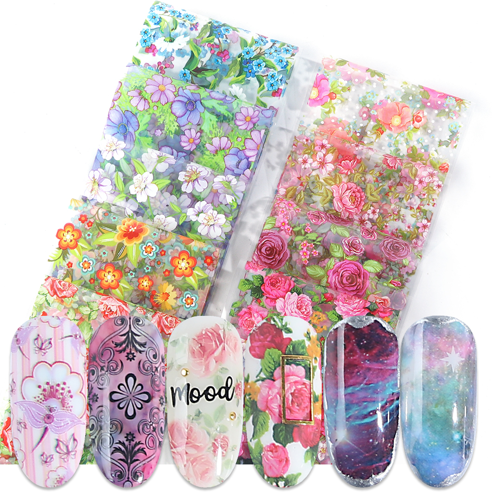 10pcs Starry Foil Stickers for Nails Holographic Lace Flowers Sky Adhesive Sliders Transfer Decals Nail Art Decorations BE798 in Stickers Decals from Beauty Health