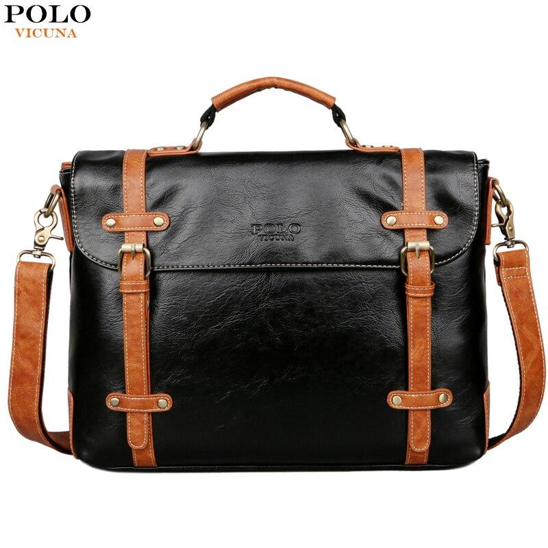 Викуньи Поло Новый контраст цвет высокое качество человек кожаная сумка дорожная старинные сумки для компьютера для мужчин Портфели Бизне...