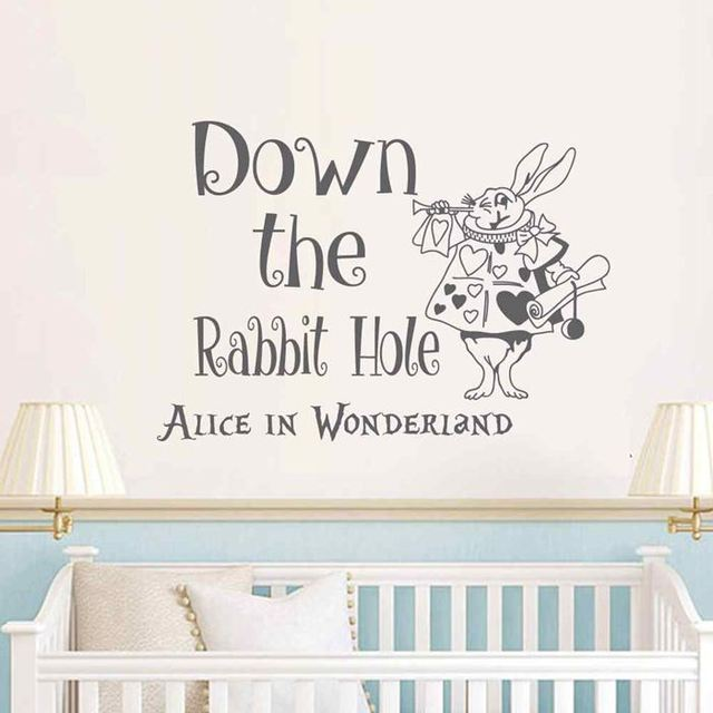 BATTOO Alice In Wonderland Wall Decal Quote  Down The Rabbit Hole Wall  Sayings White Rabbit