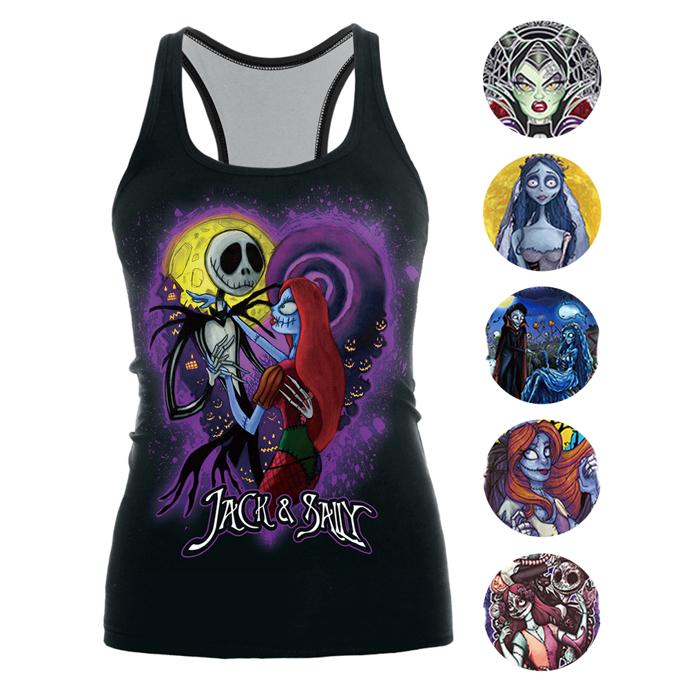 [You're My Secret] 2019 The Nightmare Before Christmas Tank Top for Women Corpse Bride Gothic Style Halloween Sleeveless Vest