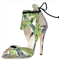 18e04ee764 ... Sexy Ankle Wrap Open Toe Sandals Lace Up Snakeskin Print. US  63.36 US   60.19. Ver Oferta. Alta qualidade preço de fábrica prata cristal sandálias  salto ...