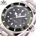 Sewor top de luxo da marca relógios mecânicos automáticos data de aço inoxidável relógio militar do exército men sport watch relogio masculino