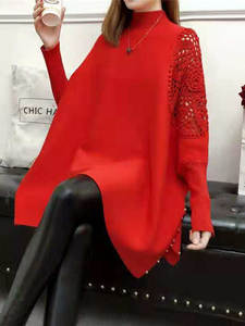 Hollow Sweater Pullovers Coat Turtleneck Knitted Long-Sleeve Cloak Spring-Bat
