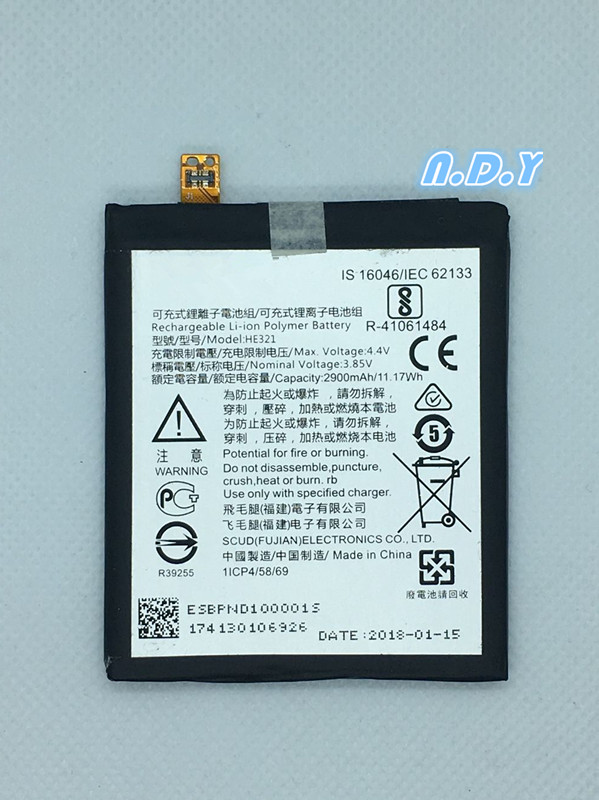 Original HE321 2900mAh Battery For Nokia <font><b>5</b></font> nokia5 Dual SIM (<font><b>TA</b></font>-<font><b>1053</b></font> DS) N5 Batteries Bateria image