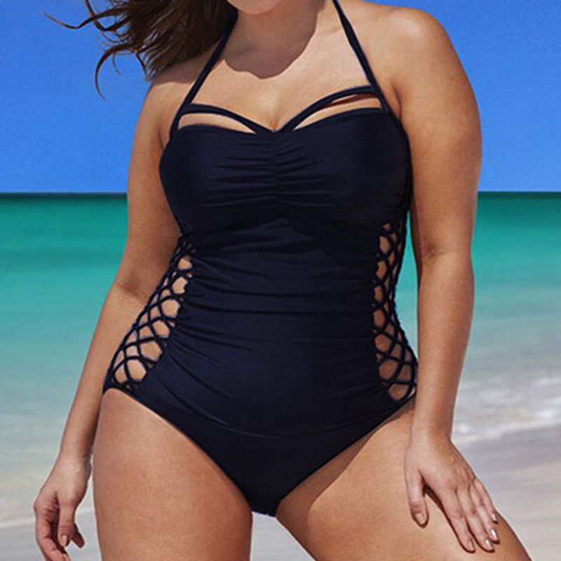 2018 one pieces swimsuit women Large size solid color swimwear female monokini Bathing Suits Beachwear Bandage plus size 4XL
