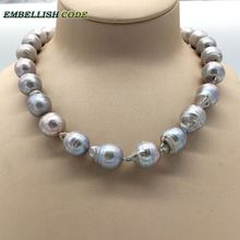 Selling well grey gray color bige size tissue nucleated flame ball shape baroque pearl necklace freshwater 100% natural pearls