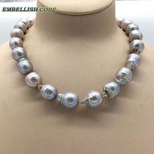 Vendendo bene in grigio colore grigio bige formato del tessuto nucleato fiamma forma di palla barocco collana di perle dacqua dolce 100% perle naturali