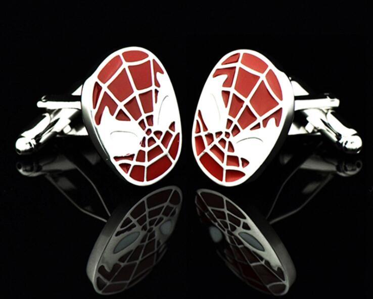 20 par/lote clásico rojo/Negro Spiderman gemelos película superhéroe Spiderman puño Llinks cobre puño botón hombres joyería regalo-in Alfileres de corbata y gemelos from Joyería y accesorios    1