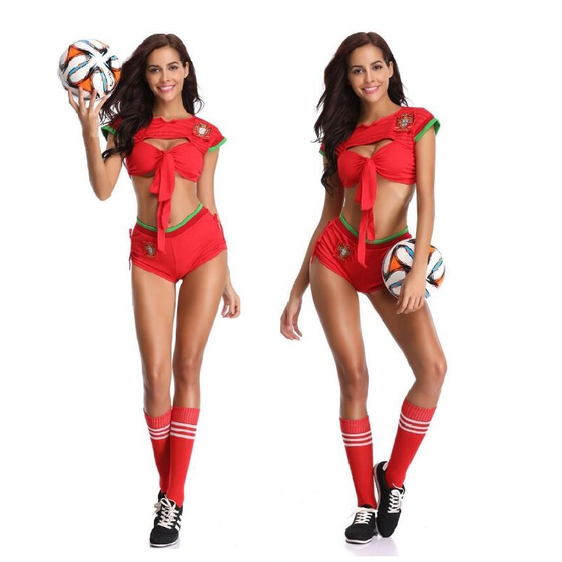 Sexy Cheering Squad Costumes Europe Cup Soccer Adult Girl Night Club Red Uniform Women Cheerleader Team Set Suit
