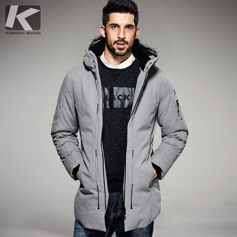 KUEGOU New Winter Mens Parkas Hooded Thick Gray Black Brand Clothing Man's Slim Fit Warm Clothes Male Wear Coats Plus Size 21606 free shipping winter parkas men jacket new 2017 thick warm loose brand original male plus size m 5xl coats 80hfx
