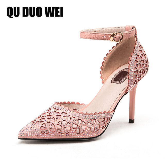 c46f7363e6f sheepskin summer ladies sweet pink sandals pointed toe bling crystal  rhinestone women high heels shoes ankle