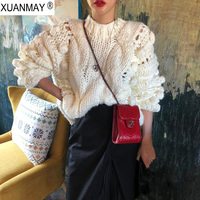 Winter High Street women White sweater Korean version of the needle hand woven sweater Coarse lines ultra thick Black sweater