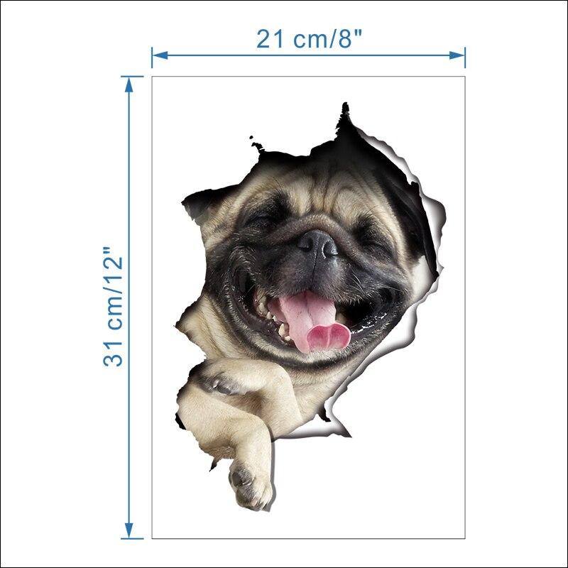 Cats Dog 3D Wall Sticker Bathroom Toilet Living Room Kitchen Decoration Animal Vinyl Art Sticker Poster 5