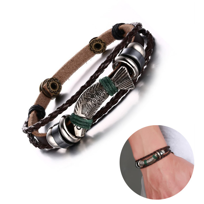Men Leather Trout Wristband with Silver Tone Fish Leather Bracelet in Brown Braided Rope Braslet Male Jewelry