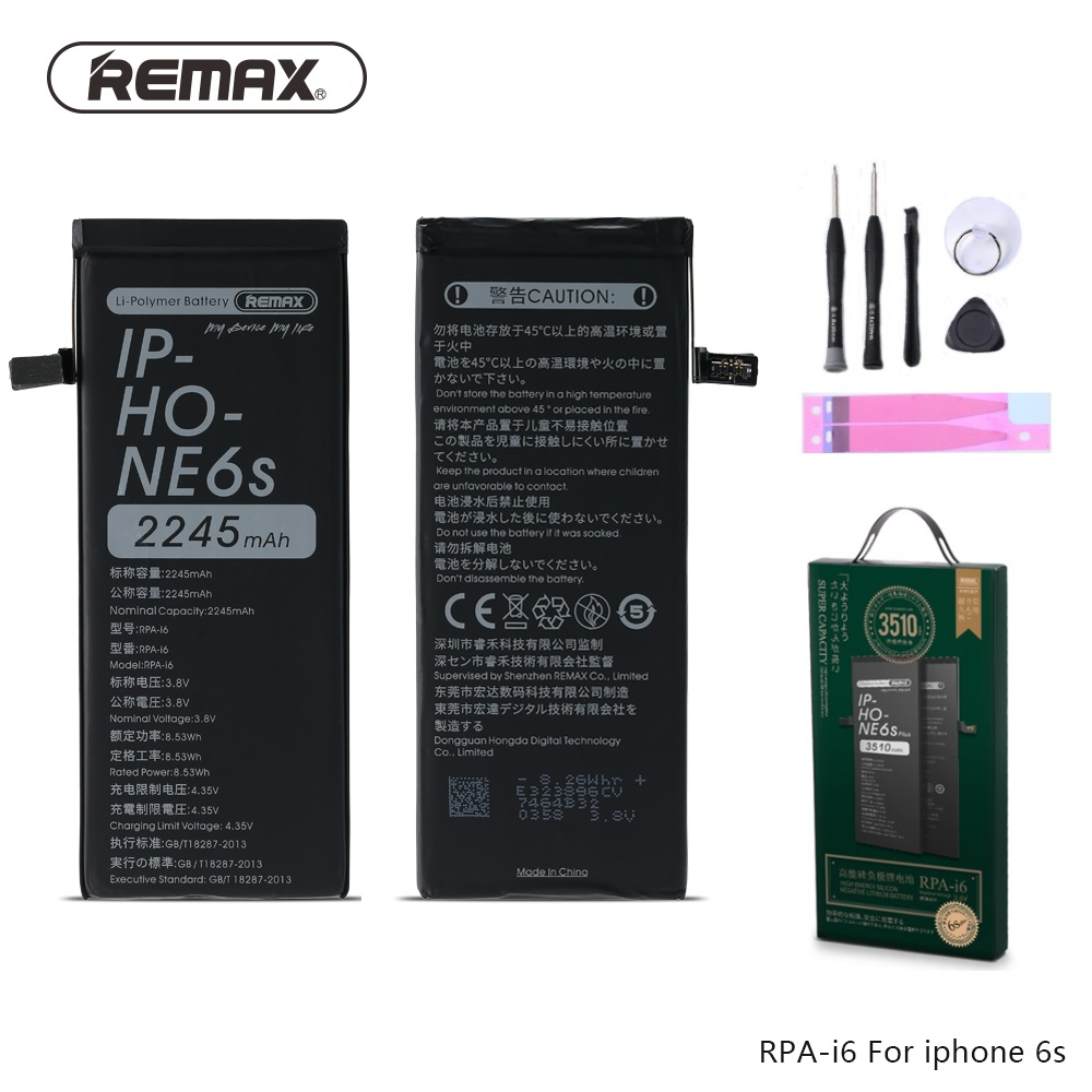 Original Remax 100% New Mobile Phone Battery For iPhone 6s batterie larger Capacity 2245mAh Real 0 cycel With Repair Tools Kit