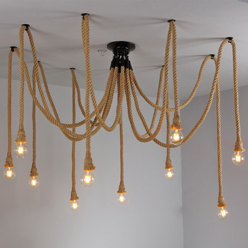 Vintage Hemp Rope Chandelier Antique Classic Adjustable DIY Spider Lamp Light Ceiling Retro Edison Bulb Pedant Lamp for home loft antique retro spider chandelier art black diy e27 vintage adjustable edison bulb pendant lamp haning fixture lighting