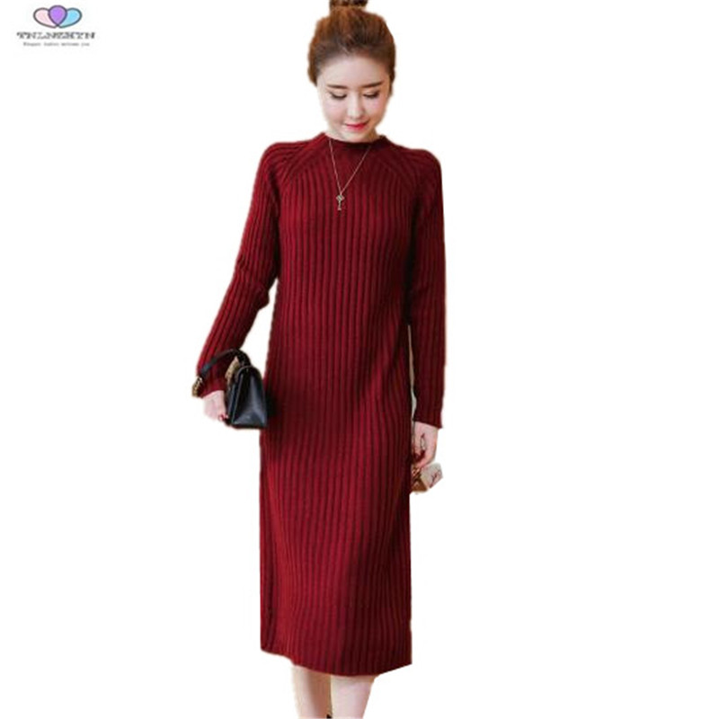 2017 New Autumn Winter Women Sweater Dress Knitted Pullover Sweater Dress Long Sweater Dress Plus Sizes S-4XL TNLNZHYN E470 italian light high quality 2017 autumn winter new brand women s wear national knitted wool sweater dress plus size s xxl 4 color