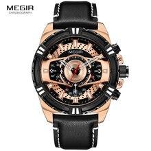 Top Brand Megir 2019 Mens Military Quartz Watches Luxury Sport Chronograph Leather Strap Wristwatch Clock Man Relogios 2118 Rose все цены