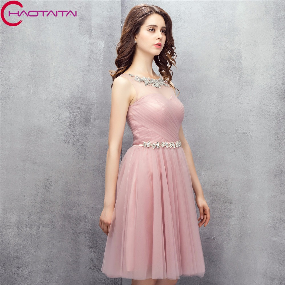 Prom Dresses Short 2018 New Arrival Real Pink Glitter Evening Dress ...