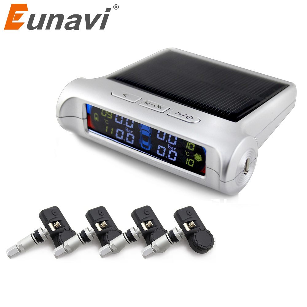 Eunavi New Car Tire Pressure Monitoring Intelligent System Solar Power Wireless LED Display TPMS with 4 Internal Sensor universal hotaudio dasaita built in tpms car tire pressure monitoring system car tire diagnostic tool with mini inner sensor