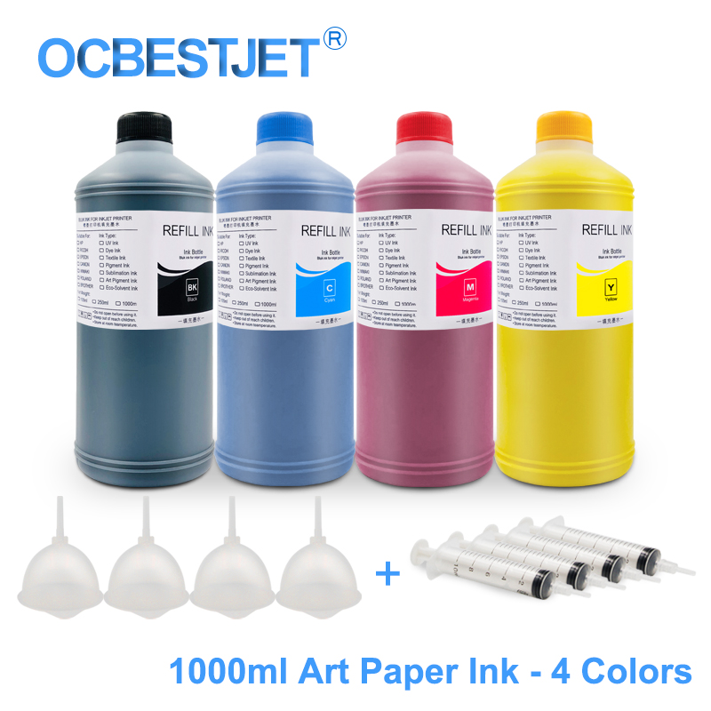 1000ML 4 Colors Art Paper Ink Art Pigment Ink For <font><b>Epson</b></font> T50 T60 P50 <font><b>R200</b></font> R230 R260 R280 L1300 1390 1400 1410 1500W T1100 T1110 image