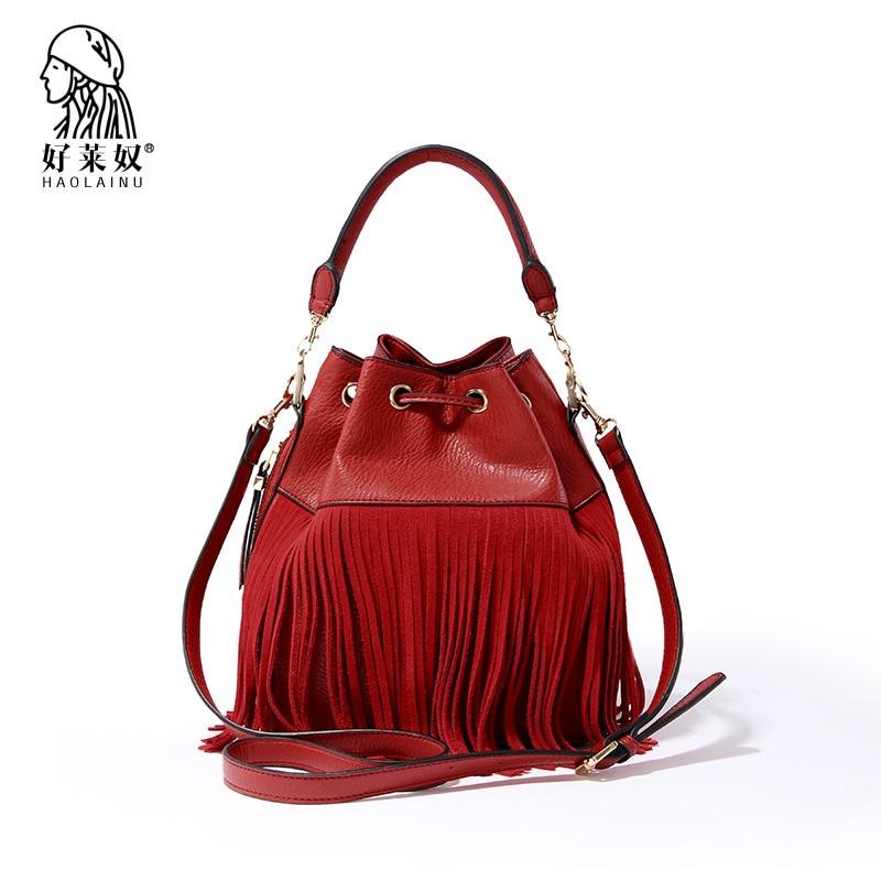 ФОТО 2017 women bag women messenger bags Fashion shoulder bag Korean handbag bucket bag tassel handbag PU Multicolor free shipping