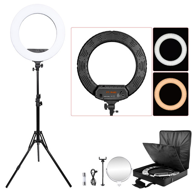 """fosoto FT-R480 18"""" Ring Light Lamp Bi-color 3200-5800K Dimmable Photographic Lighting&Tripod Stand Mirror For Phone Camera Photo"""