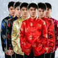 Red Chinese Traditional Costume Men Top Tang Suit Chinese Folk Dance Male Hanfu Kungfu Costume Party Clothes