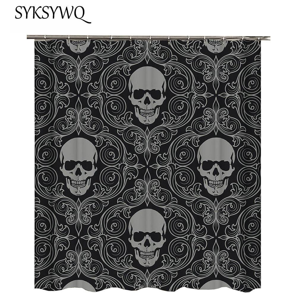Grey And Black Shower Curtain Skull Cortina De Bano