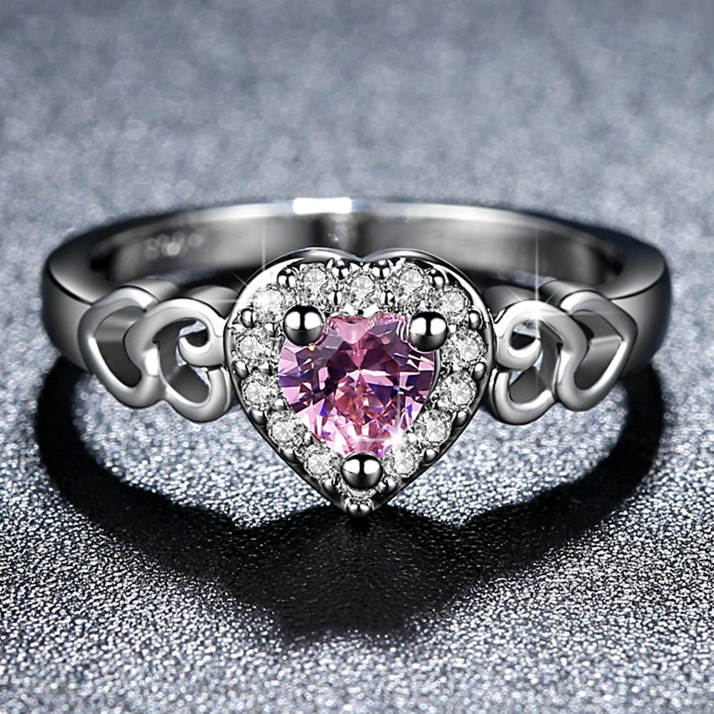 Heart Pink Crystal Ring 3
