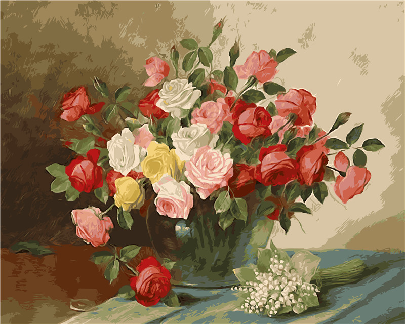 Us 7 94 53 Off Rose Of Love Picture Diy Digital Oil Painting Flower Vase Quadros Home Decor Wall Art Arrangement Cotton Painting By Numbers In
