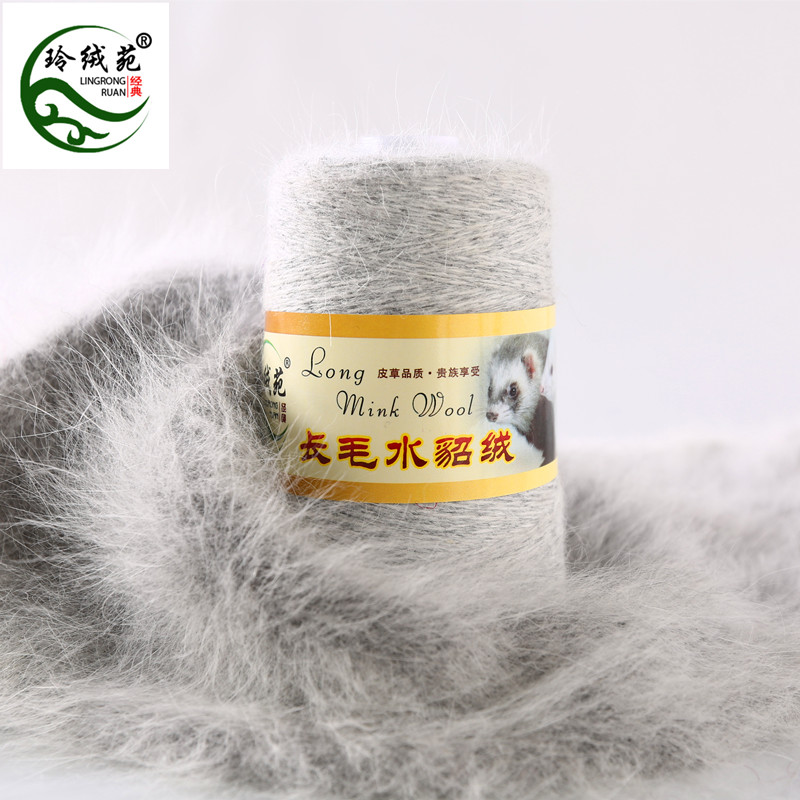 Special Mink Wool Genuine Sweater Lingcheng Court Long Wool Mink Wool Hand Knitted Medium Thick Scarf Yarn