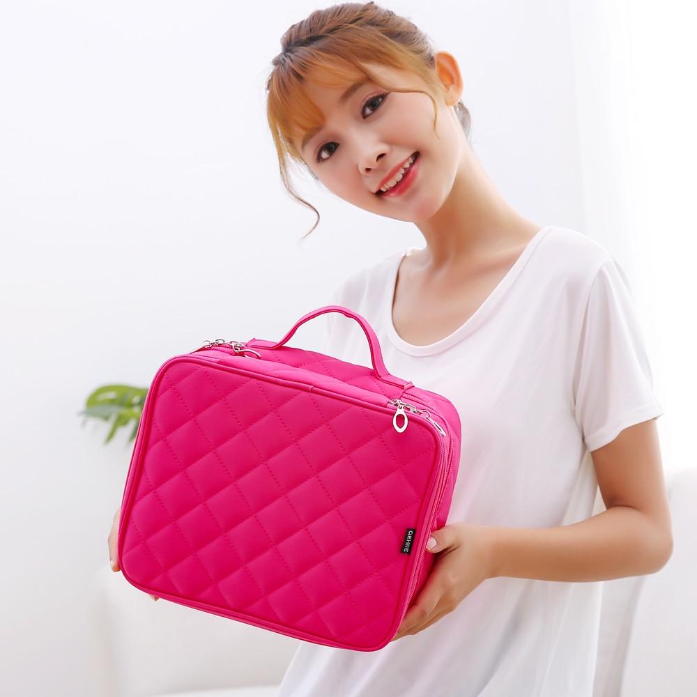 QEHIIE brand cosmetic bag travel waterproof nylon cosmetic case organizer lady beautician essential makeup bag storage brush цена