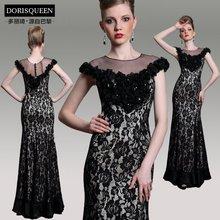free shipping new fashion 2015 vestido de festa floor length gown flowers casual formal black long lace evening elegant Dress