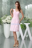 Free Shipping Modest 2013 New Design Hot Custom Size Color One Shoulder Chiffon Gown Short Pink