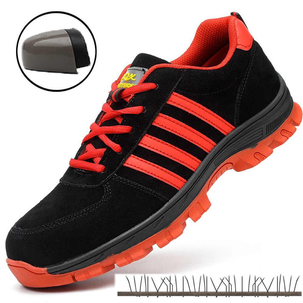 גברים של בטיחות נעלי פלדת אדם הבוהן עבודה נעלי גברים לנשימה ספורט בלתי ניתן להריסה סניקרס קל משקל צבאי נעלי זכר