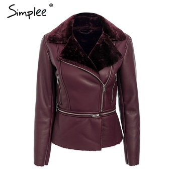 Simplee Plus size PU jacket leather women Zipper pockets thick 2018 winter coat office ladies leather jacket outwear streetwear plus size women in leather