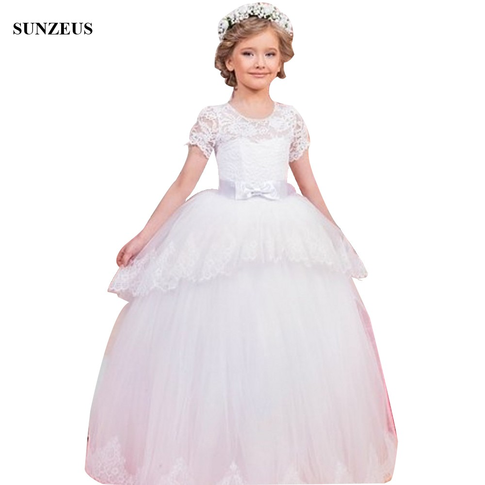 e85bcba12cc Ball Gown O-neck Long White Flower Girl Dresses With Short Sleeves Lace  Kids Wedding Party Gowns Puffy Tulle FLG098