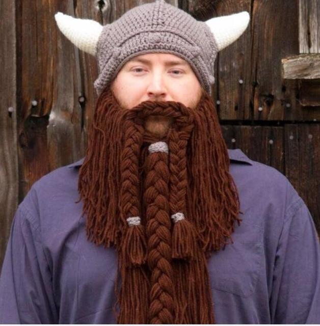 Funny handmade winter warm Women men Kids wool mustache knitted hats pirate  face mask wig beard beanies Viking horn bonnet caps 061934eb7ac2