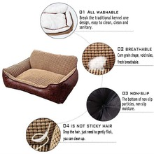KIMHOME PET Cute Dog Beds For Large Dogs Waterproof Dog House Cotton Leather Chihuahua Bed For Medium Dogs Pet Bed For Cats S-XL