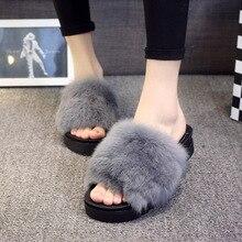 2016ฤดูใบไม้ร่วงรองเท้าแตะของผู้หญิงผมกระต่ายจริงรองเท้าแตะฤดูหนาวหนาขนพลิกF Lopsลำลองแพลตฟอร์มภาพนิ่งรองเท้าผู้หญิง