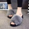 2016 Outono Invernos Chinelos Chinelos de Coelho Cabelo Real das Mulheres Espessamento De Pele Flip Flops Casual Slides Plataforma Sapatas das Mulheres