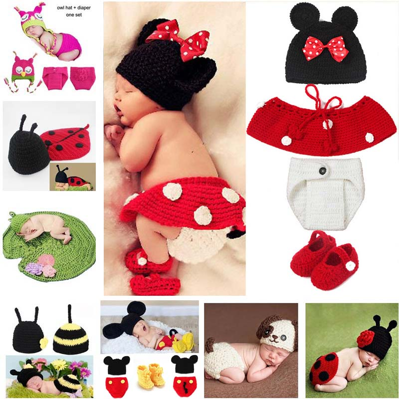 Hot Sale Cartoon Photography Props Nyfödda Baby Strikte Kostym Outfit Mickey Uggla Bee Ladybug Baby Shower Gift SG058