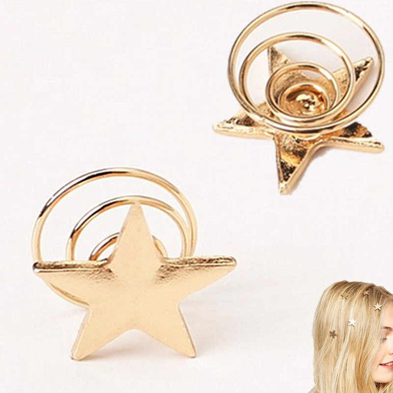 2019 Latest fashion gold color stars coil spring clips hairpin Hair Jewelry for woman girl wedding jewelry wholesale gift 1pcs