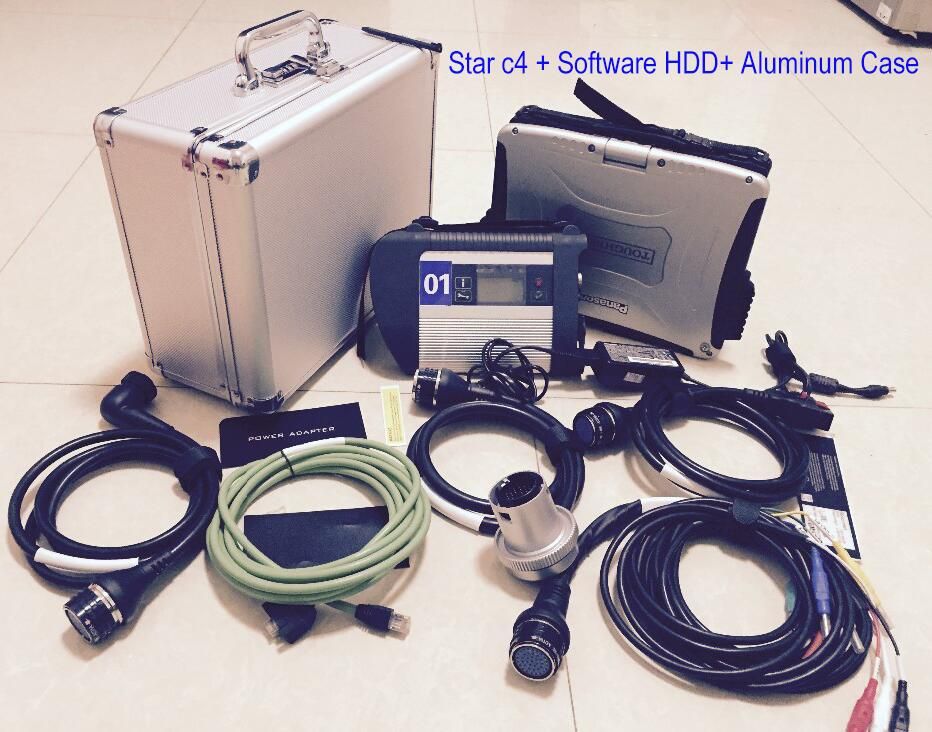 SKU BEST mb star c4 with ssd software and laptop cf19 i5 cpu full set With aluminum case